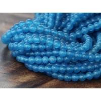 Medium Blue Semi-Transparent Jade Beads, 4mm Round