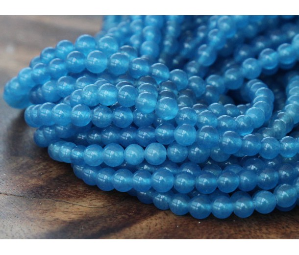 Medium Blue Semi-Transparent Jade Beads, 4mm Round