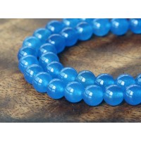 Medium Blue Semi-Transparent Jade Beads, 6mm Round