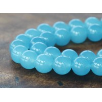Light Sky Blue Semi-Transparent Jade Beads, 10mm Round
