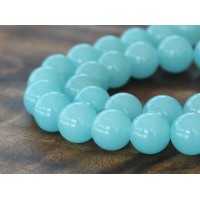 Light Sky Blue Semi-Transparent Jade Beads, 12mm Round