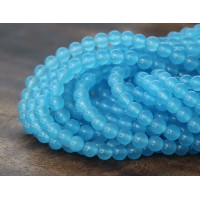 Light Sky Blue Semi-Transparent Jade Beads, 4mm Round