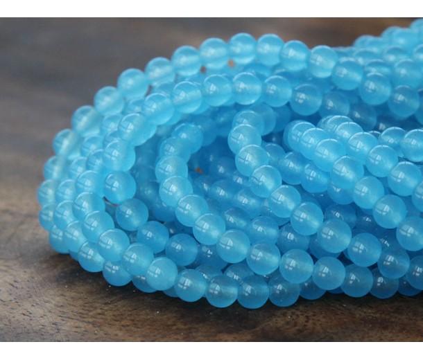 Light Sky Blue Semi-Transparent Jade Beads, 4mm Round