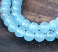 Light Sky Blue Semi-Transparent Jade Beads, 6mm Round