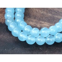 Light Sky Blue Semi-Transparent Jade Beads, 6mm Round