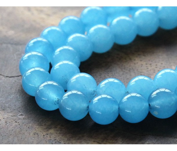 Light Sky Blue Semi-Transparent Jade Beads, 8mm Round