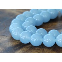 Periwinkle Blue Semi-Transparent Jade Beads, 12mm Round