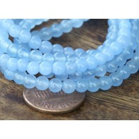 Periwinkle Blue Semi-Transparent Jade Beads, 4mm Round