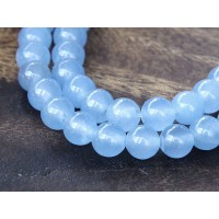 Periwinkle Blue Semi-Transparent Jade Beads, 6mm Round