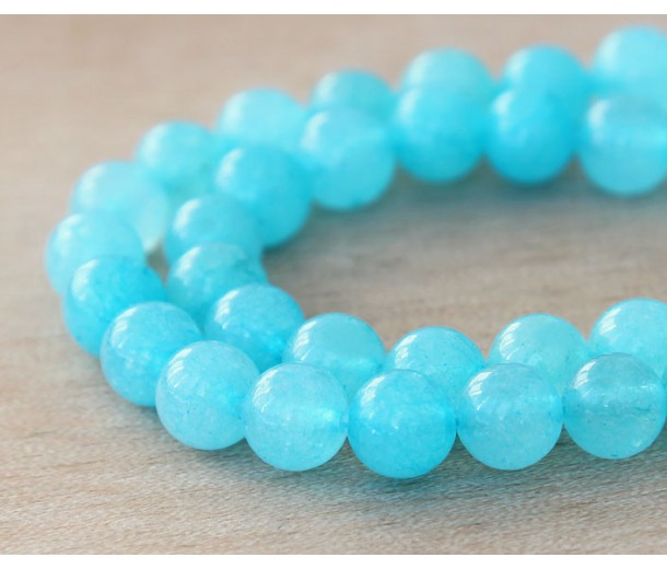 Cyan Blue Semi-Transparent Jade Beads, 8mm Round