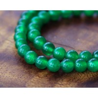 Grass Green Semi-Transparent Jade Beads, 6mm Round