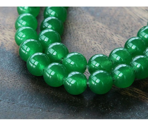 Grass Green Semi-Transparent Jade Beads, 8mm Round