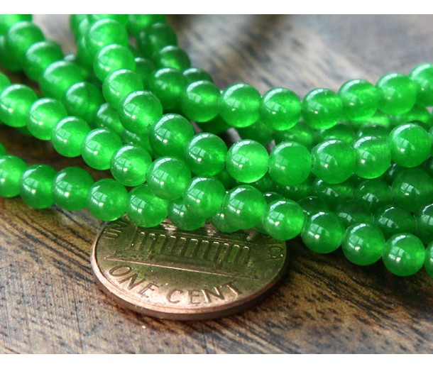Bright Green Semi-Transparent Jade Beads, 4mm Round