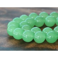Light Green Semi-Transparent Jade Beads, 12mm Round
