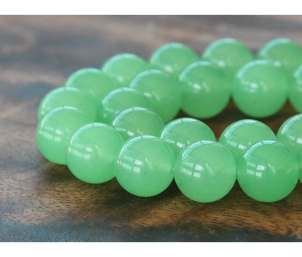 Light Green Semi-Transparent Jade Beads, 10mm Round