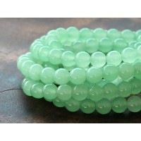 Light Green Semi-Transparent Jade Beads, 6mm Round