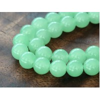Light Green Semi-Transparent Jade Beads, 8mm Round