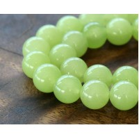 Lime Green Semi-Transparent Jade Beads, 10mm Round