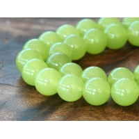 Lime Green Semi-Transparent Jade Beads, 12mm Round