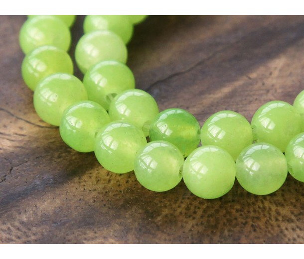 Lime Green Semi-Transparent Jade Beads, 6mm Round