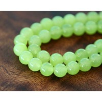 Lime Green Semi-Transparent Jade Beads, 8mm Round
