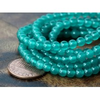 Dark Teal Green Semi-Transparent Jade Beads, 4mm Round