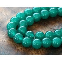 Dark Teal Green Semi-Transparent Jade Beads, 8mm Round