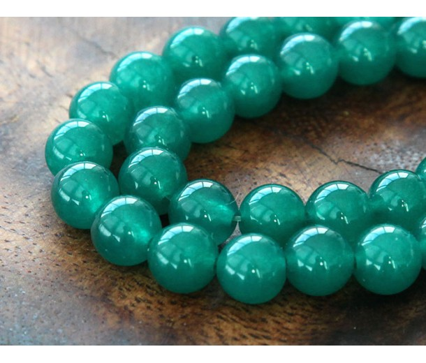 Dark Teal Green Semi-Transparent Jade Beads, 6mm Round