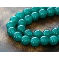 Dark Teal Green Semi-Transparent Jade Beads, 10mm Round