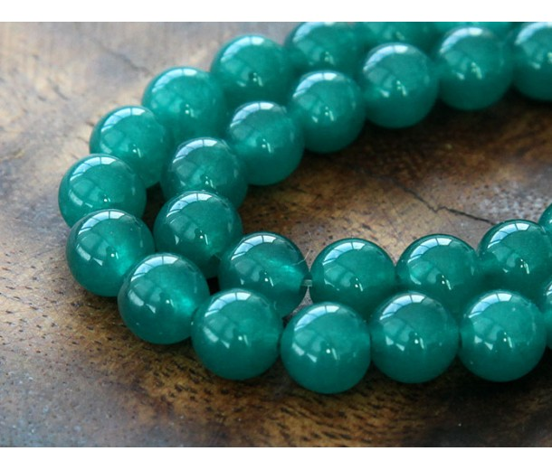 Dark Teal Green Semi-Transparent Jade Beads, 10mm Round