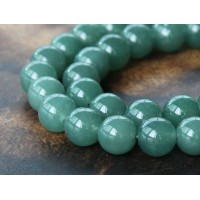 Moss Green Semi-Transparent Jade Beads, 10mm Round