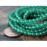 Moss Green Semi-Transparent Jade Beads, 4mm Round