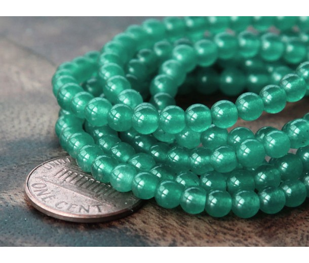 Moss Green Semi-Transparent Jade Beads, 4mm Round