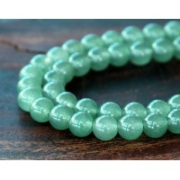 Moss Green Semi-Transparent Jade Beads, 6mm Round