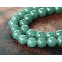 Moss Green Semi-Transparent Jade Beads, 8mm Round