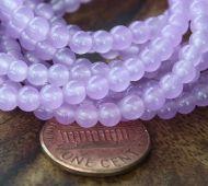 Orchid Semi-Transparent Jade Beads, 4mm Round