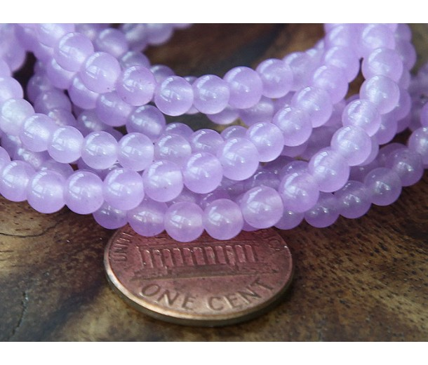 Orchid Semi-Transparent Jade Beads, 4mm Round