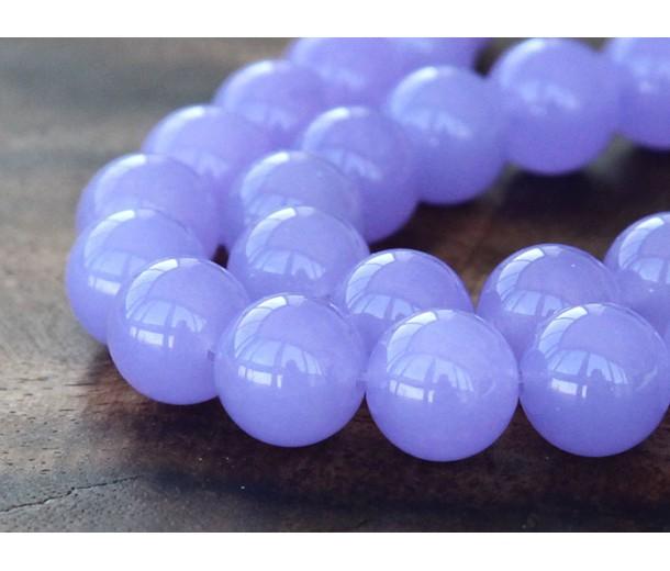 Violet Semi-Transparent Jade Beads, 12mm Round
