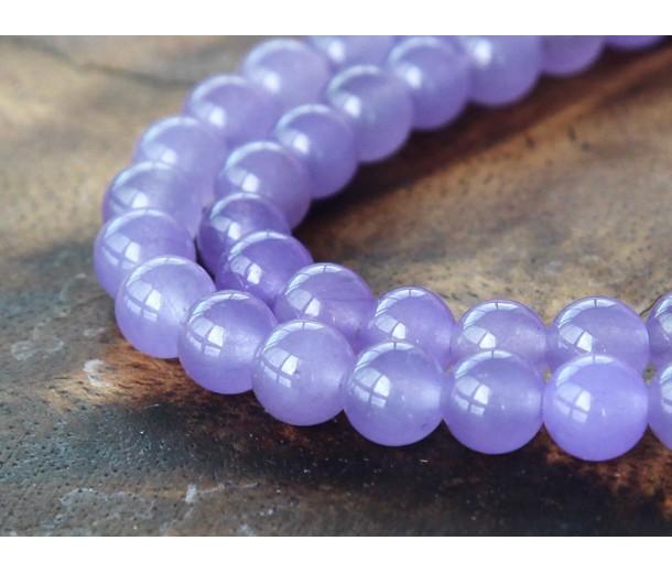 Violet Semi-Transparent Jade Beads, 6mm Round