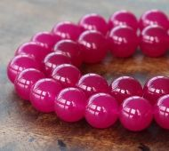 Magenta Semi-Transparent Jade Beads, 10mm Round