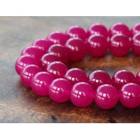 Magenta Semi-Transparent Jade Beads, 10mm Round