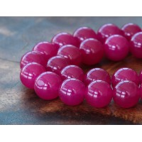 Magenta Semi-Transparent Jade Beads, 12mm Round