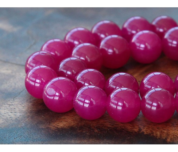 Magenta Semi-Transparent Jade Beads, 12mm Round