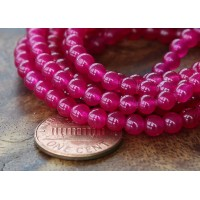 Magenta Semi-Transparent Jade Beads, 4mm Round