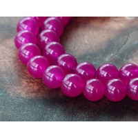Magenta Semi-Transparent Jade Beads, 6mm Round