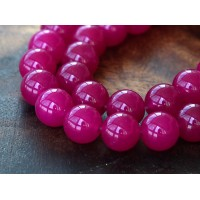 Magenta Semi-Transparent Jade Beads, 8mm Round