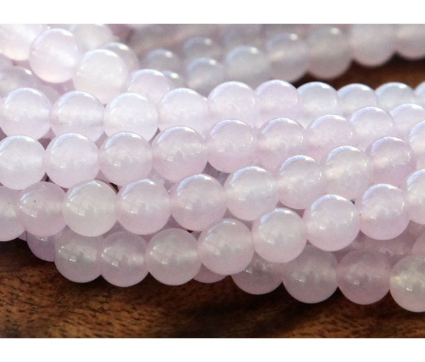 Pale Purple Semi-Transparent Jade Beads, 6mm Round