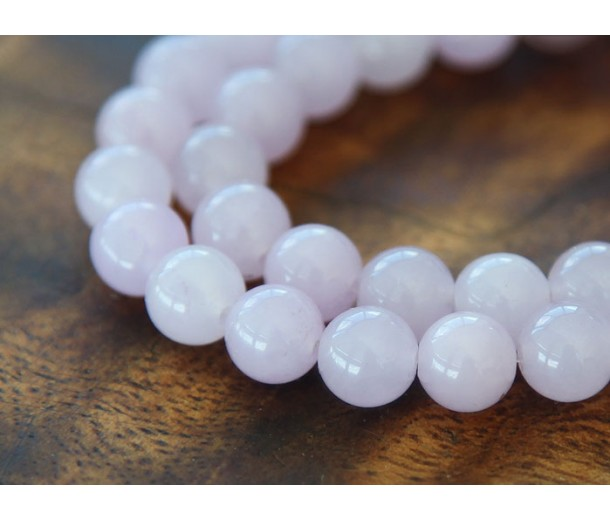 Pale Purple Semi-Transparent Jade Beads, 10mm Round