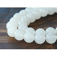 White Semi-Transparent Jade Beads, 10mm Round