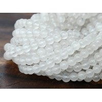 White Semi-Transparent Jade Beads, 4mm Round